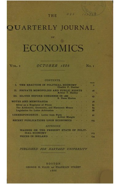 The Quarterly Journal of Economics Volume 1