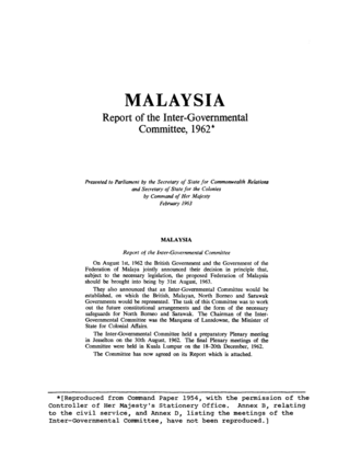 20-point agreement - The Report of the Inter-Governmental Committee. On 1 August 1962