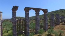 Aerial footage of a Roman provincial aqueduct at Mória (Lesbos)