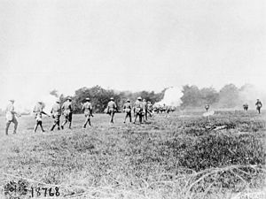 326th Infantry Regiment (United States) - Men of the 326th Infantry Regiment moving towards German trenches at Choloy, France, July 25, 1918.