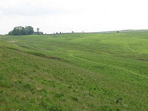 Military Way (Hadrian's Wall) - The course of the Military Way, seen here near Milecastle 42, ran between the southside of Hadrian's Wall and the Vallum.