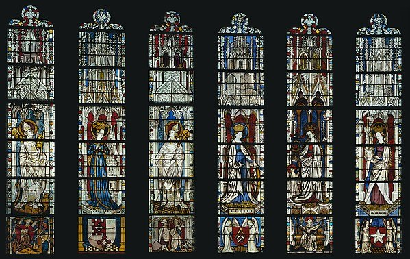 The Virgin Mary and Five Standing Saints above Predella Panels Full