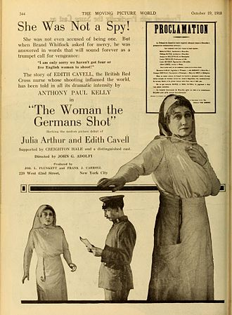 Julia Arthur - Advertisement for The Woman the Germans Shot (1918)