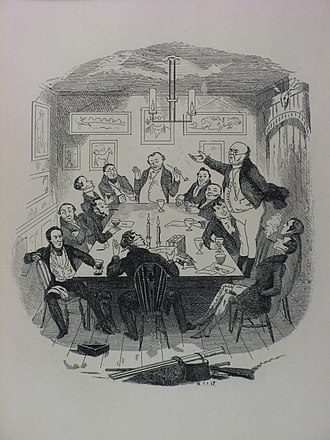 The Pickwick Papers - Robert Seymour illustration depicting Pickwick addressing the club