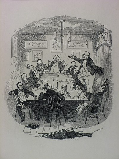 Robert Seymour illustration depicting Pickwick addressing the club The Writings of Charles Dickens v1 p4 (engraving).jpg