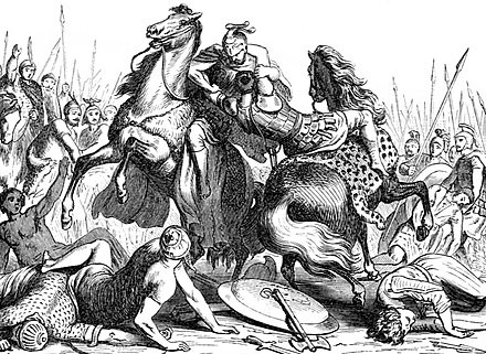 In 321 BC Pharnabazus commanded a squadron of cavalry for Eumenes, when the latter defeated Neoptolemus in the Wars of the Diadochi. 1878 engraving. The fight of Eumenes of Cardia against Neoptolemus, Wars of the Diadochi.jpg