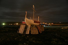 The galley awaits its fate at the Centenary Uyeasound Up Helly Aa (geograph 2267076).jpg