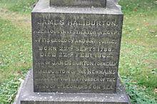 The inscription on James Haliburton's grave, Dean Cemetery