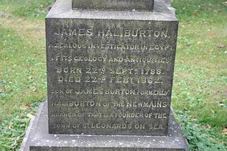 James Burton (Egyptologist) - The inscription on James Haliburton's grave, Dean Cemetery