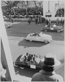 The limousine of Julius Krug, Secretary of Interior, is in foreground in the view of limousines of dignitaries in... - NARA - 200041.tif