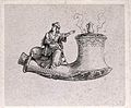 The ornamental bowl of a pipe on which is seated a miniature Wellcome V0019090.jpg