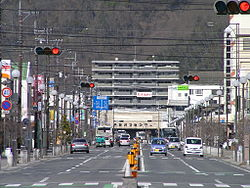 The street in front of Ibara Station.jpg