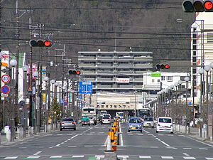 Ibara - The street in front of Ibara Station
