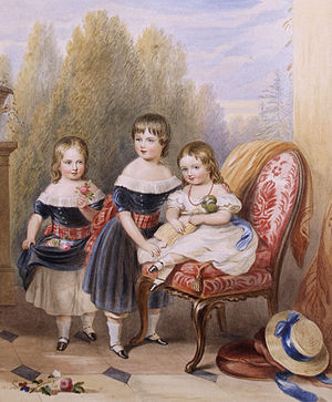 Cecil Foljambe, 1st Earl of Liverpool - Louisa (Foljambe) Howard (seated) with her elder brothers William and George Robert Dowling, 1844)