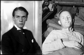 Two images, a formal picture of John Amery, facing the camera, and one of William Joyce on a hospital stretcher.