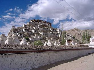 Gompa - Thikse Monastery near Leh in Ladakh, India, is typical of Tibetan Buddhist gömpa design.