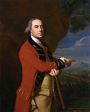 Muotokuva brittiläisestä komentajasta, Sir Thomas Gage pukupuvussa.