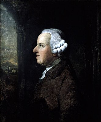 1751 in poetry - Portrait of Thomas Gray by Benjamin Wilson, date unknown, with image of the church at Stoke Poges where Gray composed An Elegy Written in a Country Church-Yard and where Gray is buried