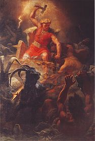 Thor's Battle Against the Jötnar (1872) by Mårten Eskil Winge.jpg