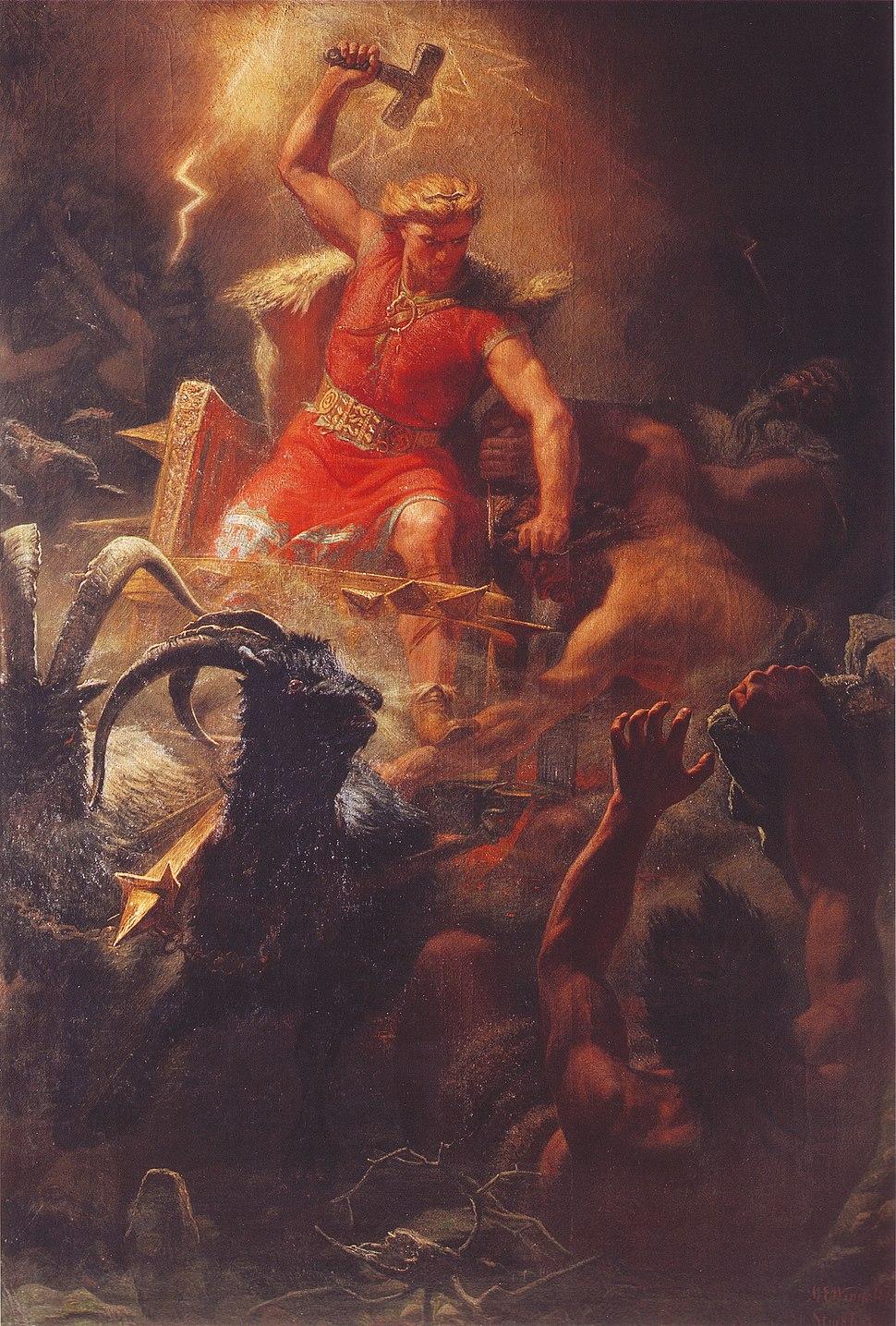 Thor's Battle Against the Jötnar (1872) by Mårten Eskil Winge