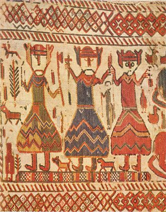 Old Norse religion - Three figures on the 12th-century Skog tapestry; they have been interpreted as the Norse Gods, Odin, Thor and Freyja