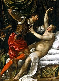 Tarquin attacking nude Lucretia with a dagger