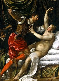 Painting by Titian of Tarquinius' son raping L...