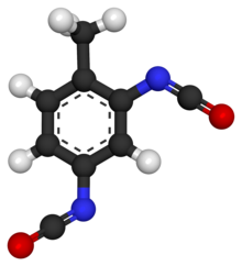 Ball and stick model of toluene diisocyanate
