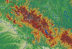 Topography of Bohemian Forest Mts. - CZ, D, A