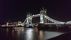 Tower Bridge at night from South Bank