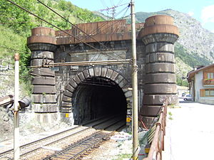 1871 in rail transport - Fréjus Tunnel entrance from Italian side (Bardonecchia)