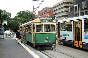 Victoria Street, Melbourne - Route 30 Tram at St Vincent's Plaza interchange on Victoria Parade