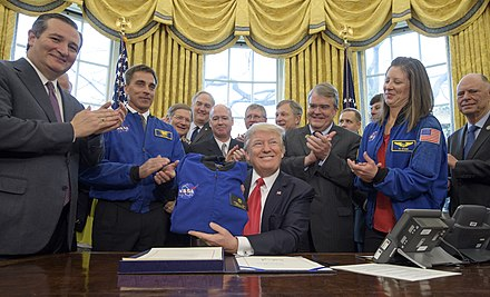 Cruz and President Donald Trump, after signing the NASA Transition Authorization Act of 2017 Transition Authorization Act Signing (NHQ201703210002).jpg