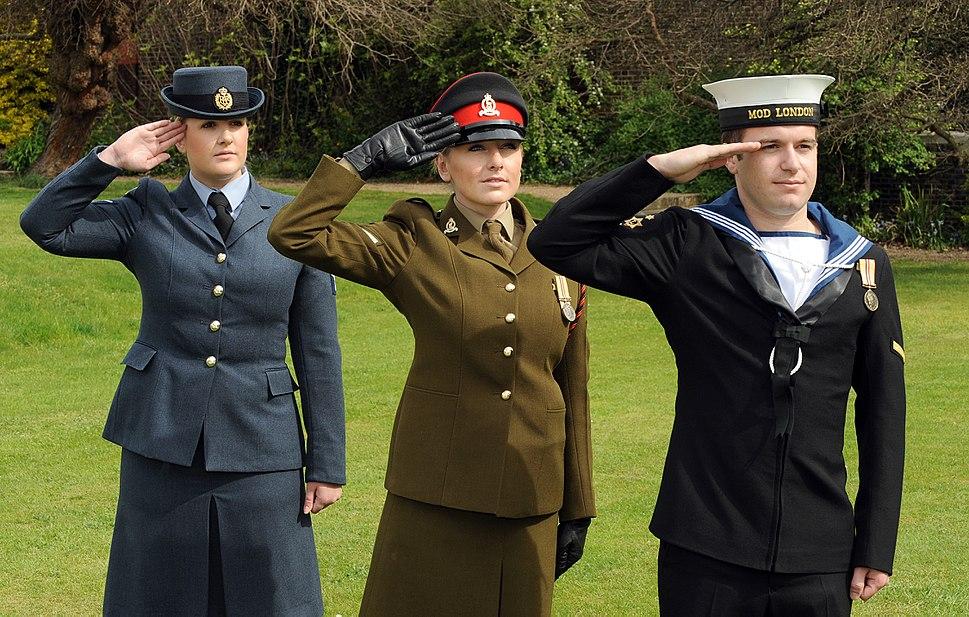 Tri-Service Personnel Saluting MOD 45151321
