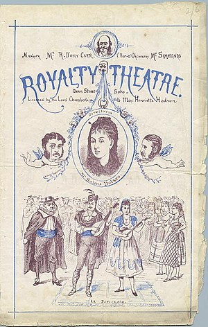 Trial by Jury - April 1875 programme for La Périchole and Trial by Jury. Sullivan and Gilbert are the cherubs.