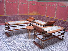 Reconstructed Triclinium Or Dining Room, With Three Klinai Or Couches