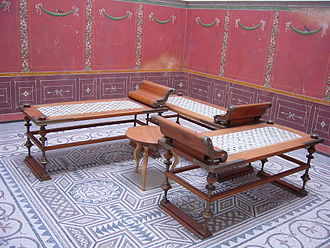 Bavarian State Archaeological Collection - A Roman Triclinium (formal dining room) at the museum.
