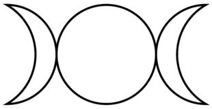 Un simbolo rappresentate la Dea triplice, raffigura i tre aspetti della  Luna. Questa versione del simbolo è usato principalmente nella Wicca.