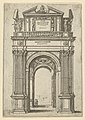 Triumphal arch surmounted by woman seated on a dolphin, four standing figures below, a temporary decoration for the entry of Pope Clement VIII in Bologna in 1598 MET DP837826.jpg