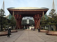 Tsuzumimon Gate in front of Kanazawa Station in the morning 20150121.JPG
