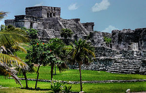 Maya Site: Maya Pyramid at Tulum. Tulum is jus...