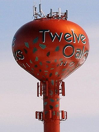Twelve Oaks Mall - The Twelve Oaks water tower visible from I-96.