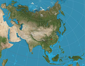 Map projection - A two-point equidistant projection of Eurasia