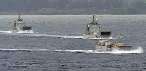 Balikpapan-class landing craft heavy - Balikpapan (left), Wewak, and a United States Navy Landing Craft Utility underway during Pacific Partnership 2011