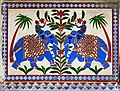 Two blue elephants with mahout, mosaic, Udaipur, Rajasthan, India.jpg