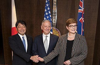 Marise Payne - Payne with Itsunori Onodera and James Mattis at a trilateral meeting in June 2018.