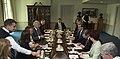 U.S. Defense Secretary Chuck Hagel, left, and Australian Prime Minister Tony Abbott meet after Hagel hosted a full-honors ceremony for him at the Pentagon, June 13, 2014 140613-M-EV637-888.jpg