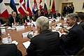 U.S. Secretary of Defense Chuck Hagel, foreground center, meets with British Secretary of State for Defense Philip Hammond, foreground right, Canadian Minister of National Defense Peter MacKay, left, and French 130604-D-BW835-594.jpg