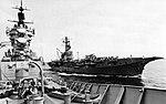 USS Chicago (CG-11) and HMAS Melbourne (R21) underway in the Pacific Ocean, in October 1979.jpg