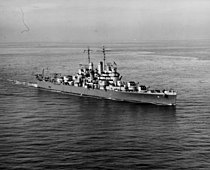 USS Cleveland (CL-55) underway at sea in late 1942 (NH 55173).jpg